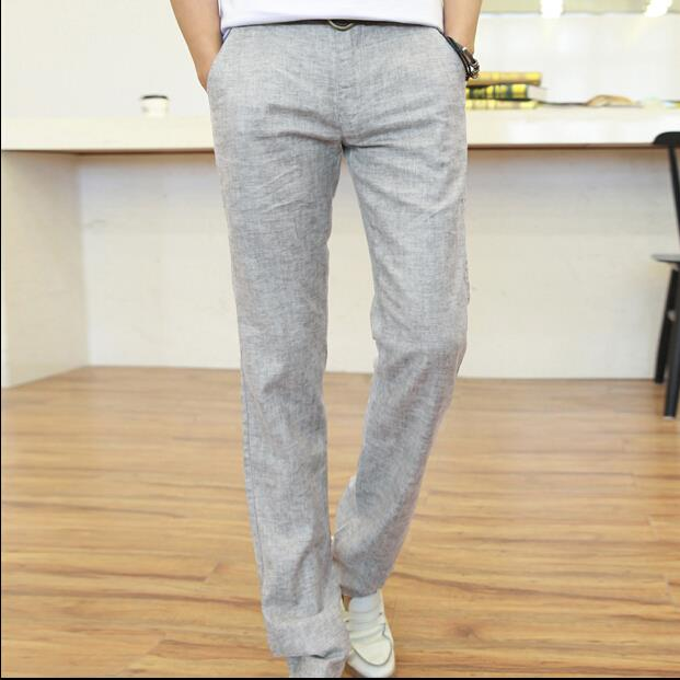 grey linen pants mens - Pi Pants