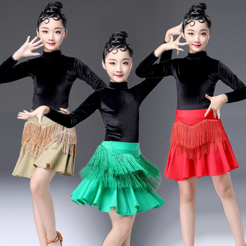 Latin Dance Dress Girls Black Velvet Long Sleeve Top Fringe Skirt Kids Costumes Practice Performance Dancing Clothes DN2704