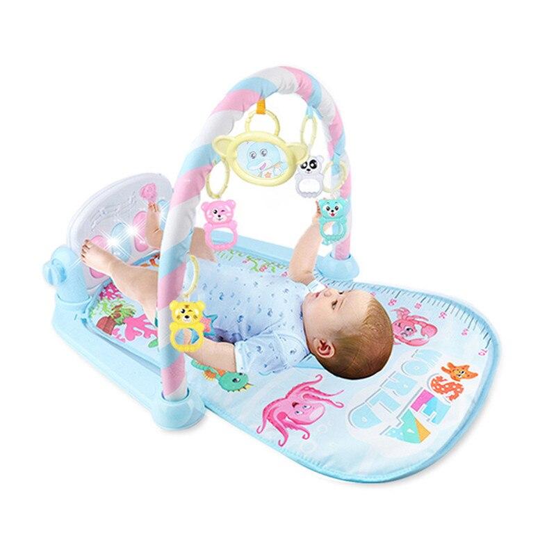 3 в 1 детский игровой коврик игрушки для ползания музыкальная игра развивающий коврик с пианино клавиатура Коврик для ребенка Детская Спортивная стойка игрушка - Цвет: Синий