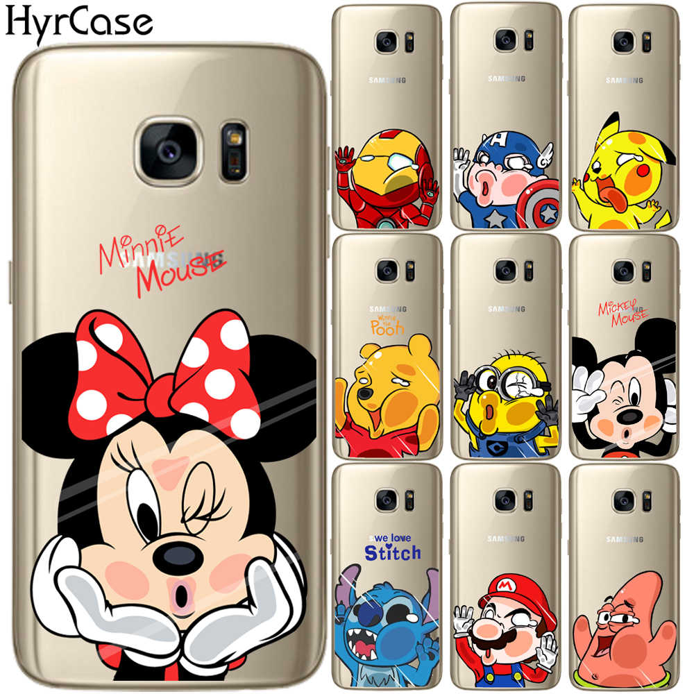 Lucu Kartun Mickey Minnie Marvel Lembut TPU Case Cover untuk Samsung Galaxy S5 Mini S6 S7 Edge S8 S9 S10 plus S10E Silikon Tritone