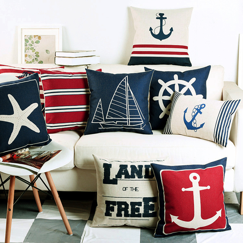 Navigation Navy Blue Nautical  Shell Starfish Linen Pillow Marine Cushion Cover Sofa Piaochuang Pad Home Decoration Pillowcase