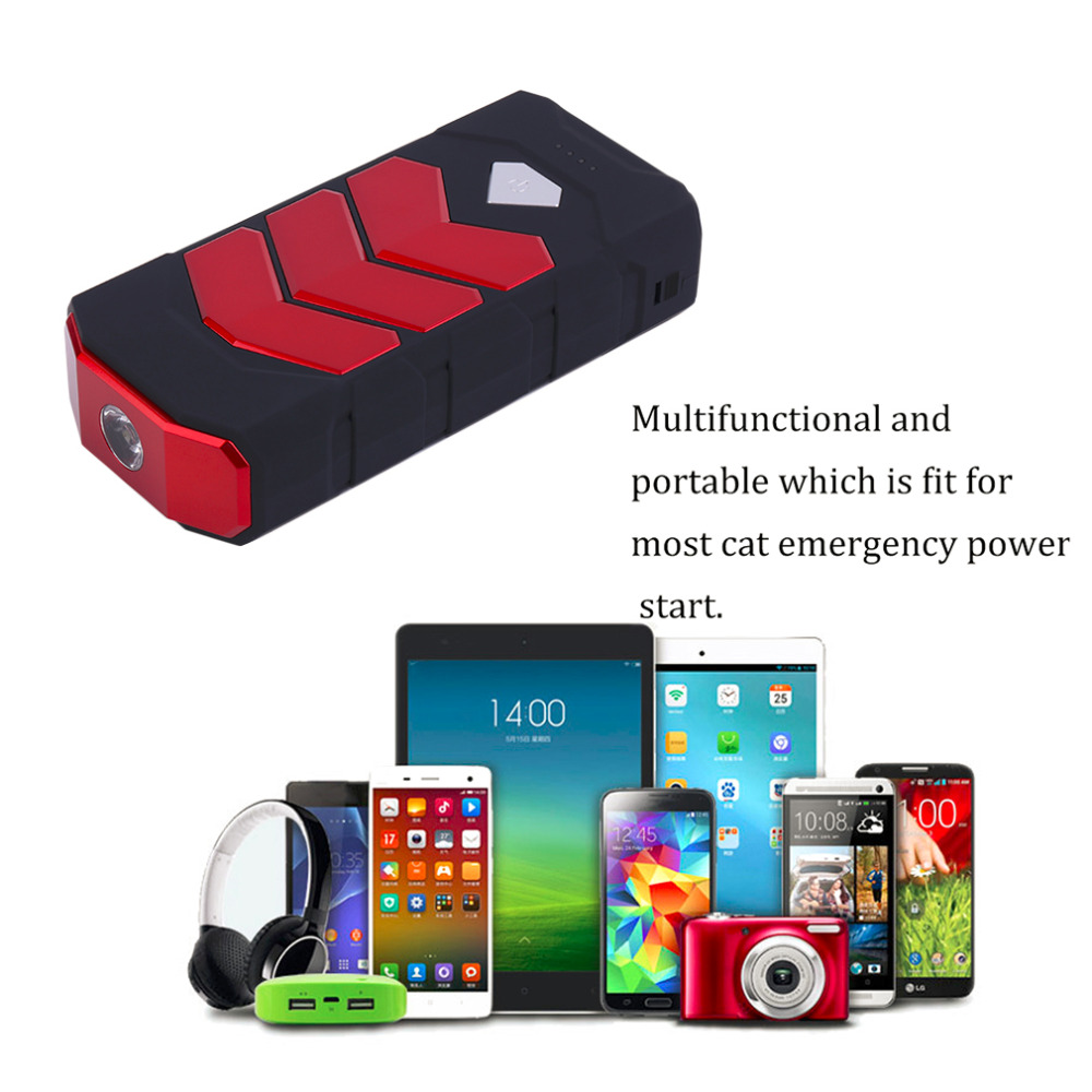 New 50800MAH Large Capacity Car Jump Starter Portale Size Emergency Vehicle Booster Battery Power Bank Charger Red Hot Selling newest 50800mah 12v car emergency start power bank vehicle jump starter booster portable current battery charger three light hot