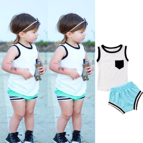 Newborn Infant Baby Boy Girl Vest Tops+Short Pants 2Pcs Outfits 2018 Kids Baby Girls Summer Clothes