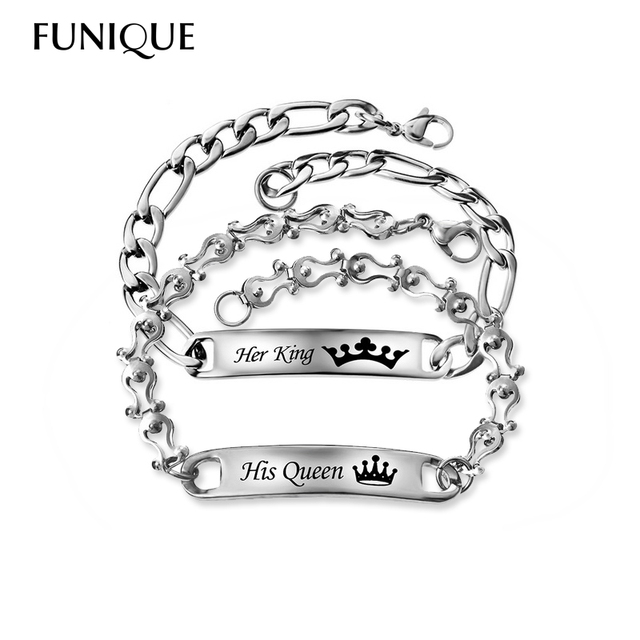 8a9ed011c7 FUNIQUE Customize Name Stainless Steel Bracelet For Lovers Letter Charm Tag ID  Bracelets Jewelry For Couples Gifts Bracelet
