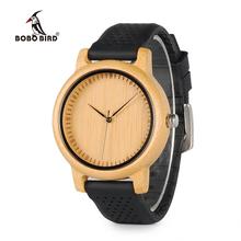 BOBO BIRD kobiety zegarki damskie luksusowe Bamboo Wood zegarki silikonowe pasy relojes mujer marca de Lujo wielkie prezenty dla dziewczyn tanie tanio 22mm Quartz Okrągłe No waterproof 10mm Papieru Hardlex Fashion Casual 42mm Klamra Brak Bambus 25cm WB05 Quartz Wristwatches