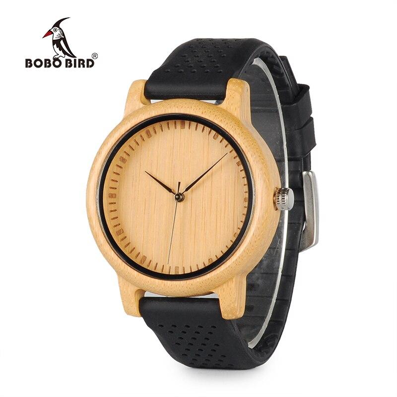 BOBO OISEAU B08 De Luxe Montre Dames Bambou Bois Quartz Montres Avec Coloré Silicone Bretelles relojes mujer marca de lujo 2017