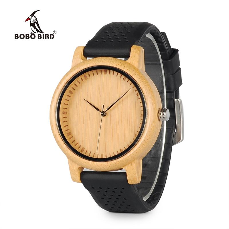BOBO VOGEL Frauen Uhren Damen Luxus Bambus Holz Uhren Silikon Straps uhren mujer marca de lujo Große Geschenke für Mädchen