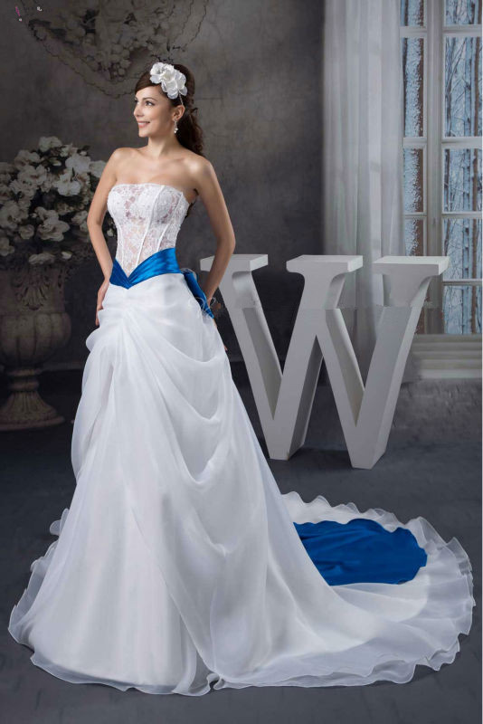 White with blue sash wedding dress wedding dresses dressesss for Blue sash for wedding dress