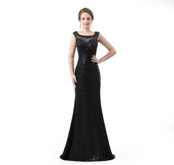 Sequined Beading Voile 2018 New Women's Elegant Long Gown Party Proms For Gratuating Date Ceremony Gala Evenings Dresses UpC46