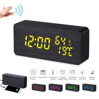 Wooden Alarm Clock 115 Colored Digital Alarm Clock LED Adjustable Brightness Table Clock Voice Control Snooze Function Time Date