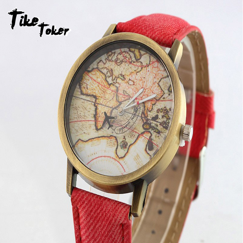TIke Toker,Hot Sale Mini World Fashion Quartz Watch Men Unisex Map Airplane Travel Around World Women Leather Wrist Watches 8 image