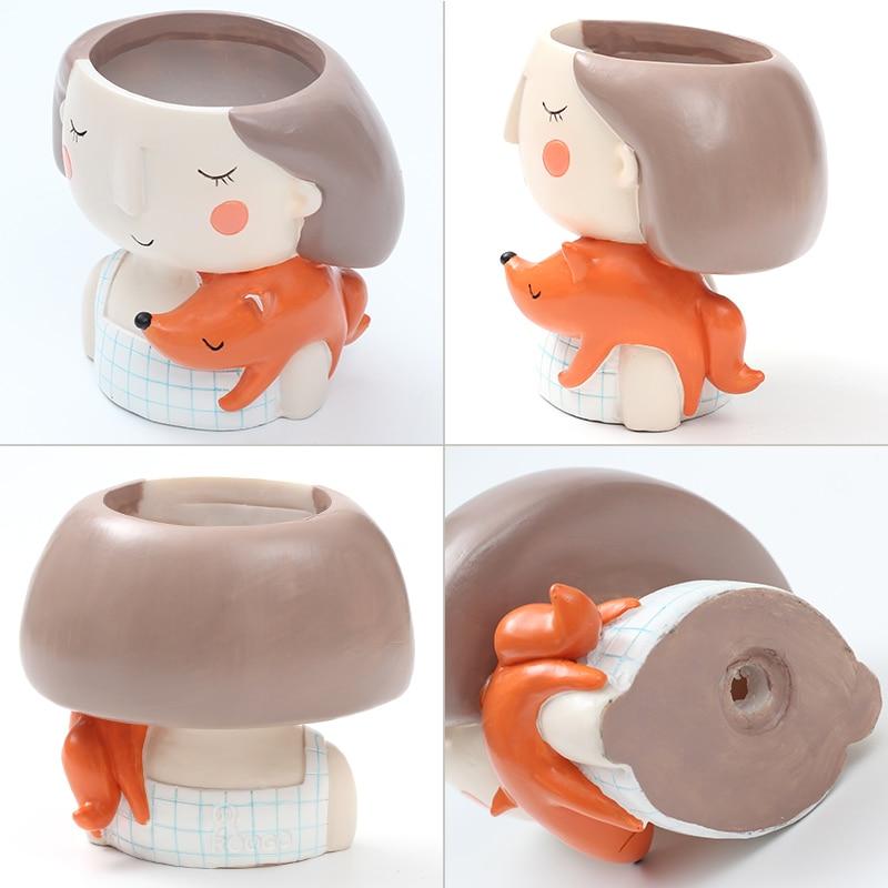 Image 5 - Roogo 4item Succulent Plant Pot Cute Girl Flower Planter Flowerpot Creat Design Home Garden Bonsai Pots Birthday Gift Ideas-in Flower Pots & Planters from Home & Garden