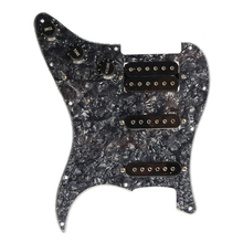 Electric Guitar Pickguard Pickups Loaded Prewired 11 Hole SSH Black Pearl