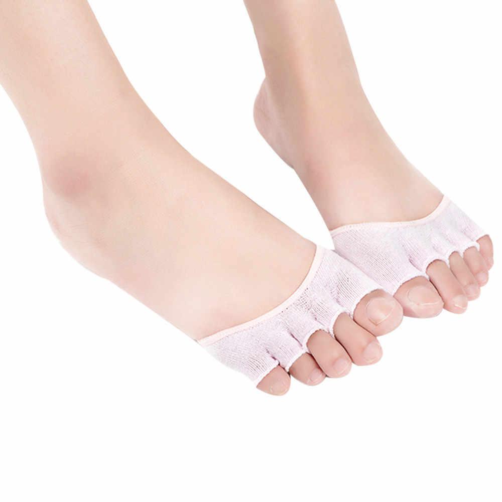 מכירה לוהטת קיץ גרבי נשים בלתי נראה יוגה חדר כושר ללא משענת הבוהן גרביים חצי אחיזת העקב חמישה גרבי אצבע