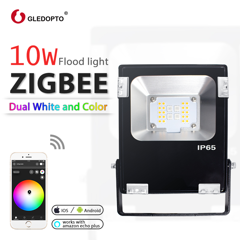 GLEDOPTO ZIGBEE LED 10W floodlight RGB+CCT  warm white and cool white zigbee light link AC110-240V EU AU Plug work with echoplus