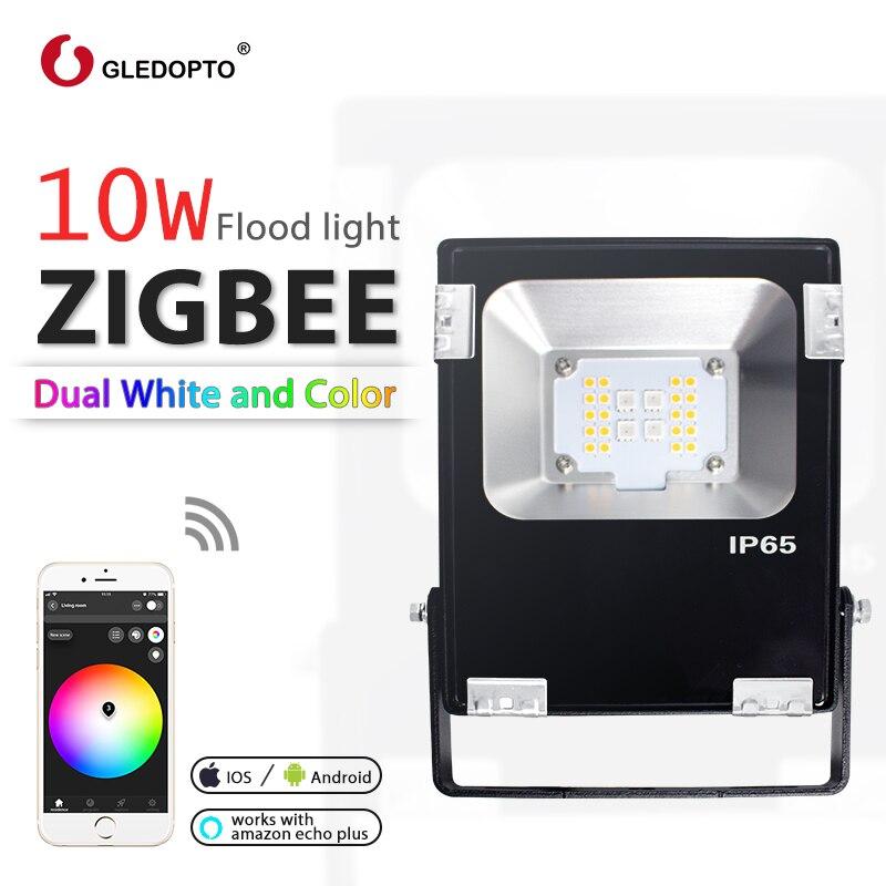 GLEDOPTO ZIGBEE LED 10 W proiettore di RGB + CCT bianco caldo bianco e freddo bianco zigbee spia di collegamento di AC110-240V EU AU plug lavora con echoplus