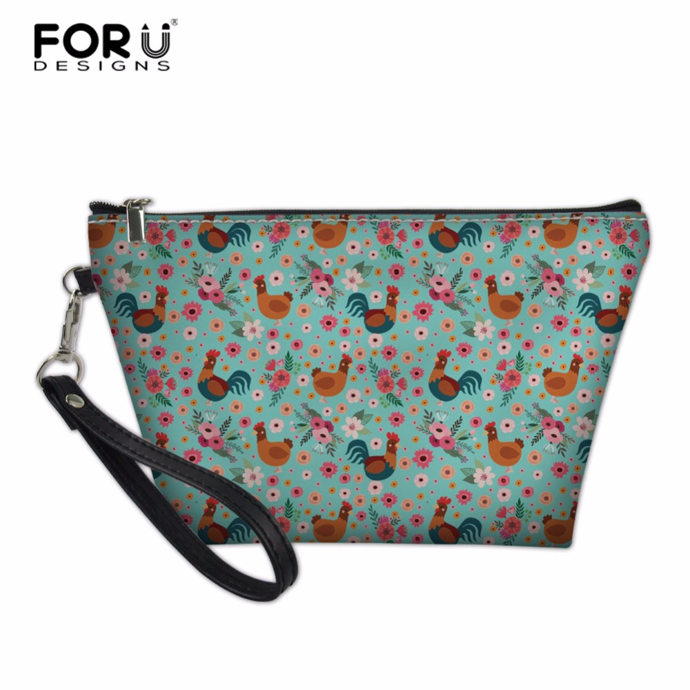 FORUDESIGNS Waterproof Travel Chicken Printing Toiletry Bags PU Leather Small Women Cosmetic Bag For Make Up Small Makeup Bag