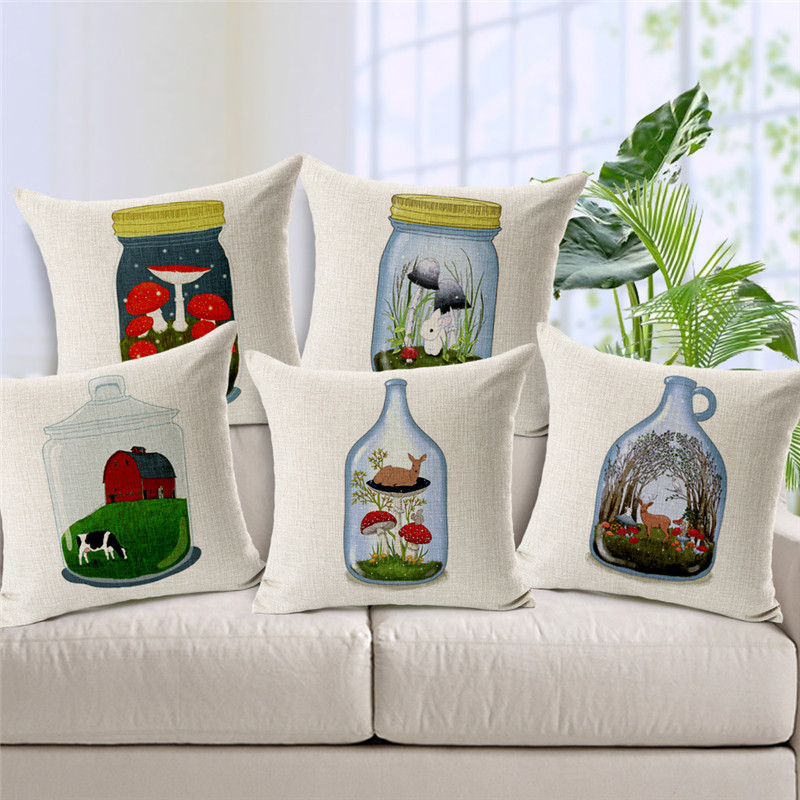 wholesale high quality decor office home sofa pillowcase Nordic Glass Rafting Bottle Animal World car cushion cover 45x45cm