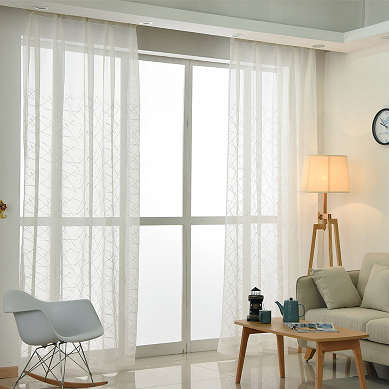 Aliexpress.com : Buy Modern Cross Lines Embroidered Tulle Curtains Living  Room Decoration Translucent Curtains For Living Room Bedroom White Curtain  From ...