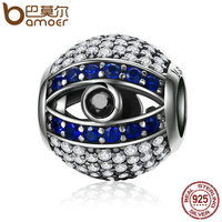 BAMOER Genuine 925 Sterling Silver Evil Eyes Eye Of Nazar Lucky Guardian Beads Charm Fit Charm