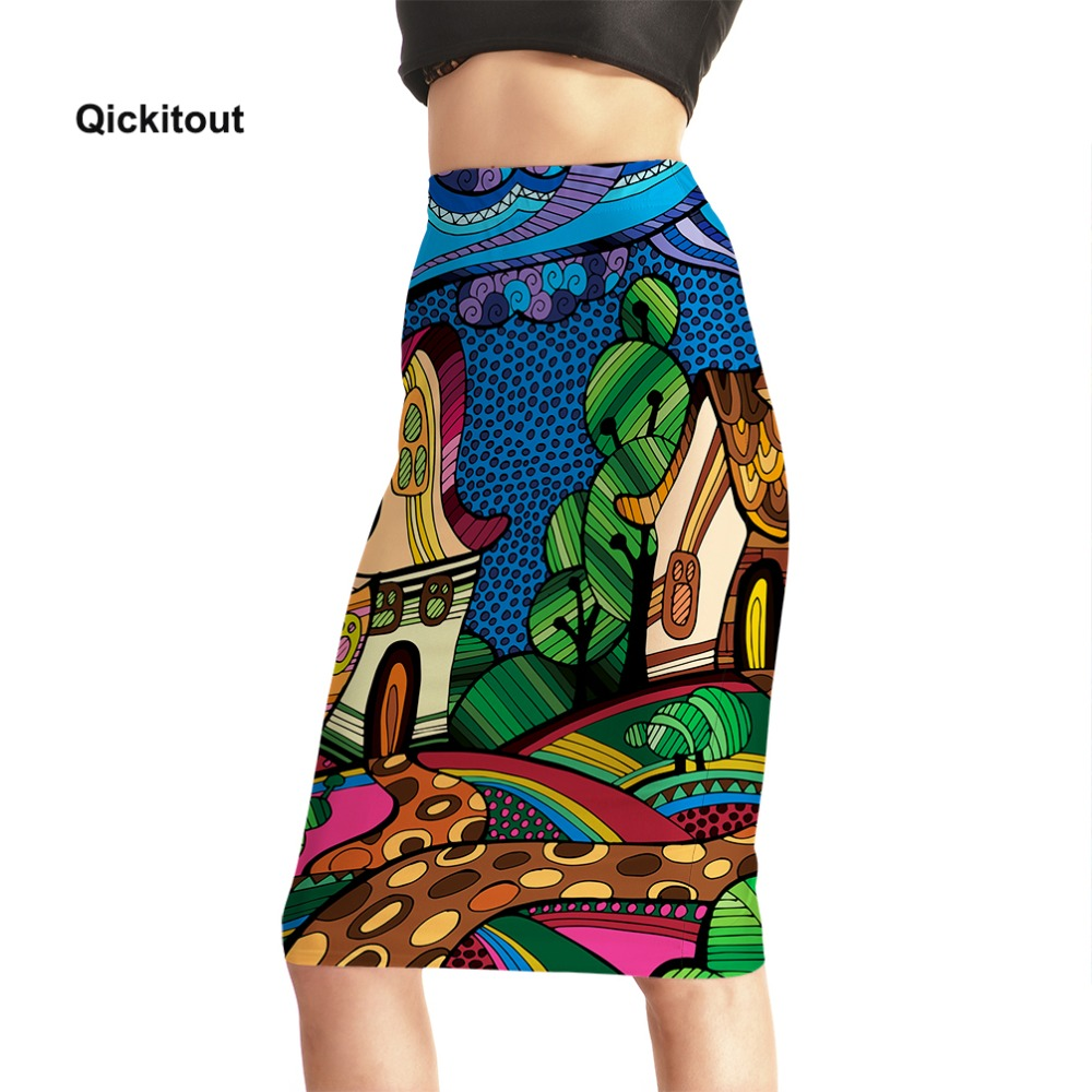 2018 Summer Sexy Women Pencil Skirts High Waist Printed Casual Office Skirts Middle Knee Length Skirt Plus Size S-XXXXL