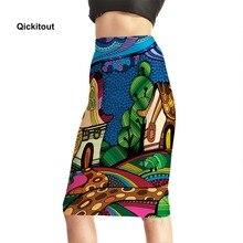 2018 lato Sexy kobiety spódnice ołówkowe wysokiej talii drukowane Casual spódnice biurowe średniej długości kolana spódnica Plus rozmiar S XXXXL
