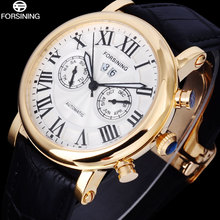 FORSINING Luxury Brand Men s Watch automatic mechanical relogio masculino gold case white dial wristwatches genuine