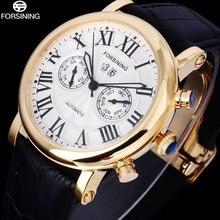 FORSINING Люксовый Бренд мужские Часы автоматическая механическая relogio masculino золото кейс белый циферблат наручные часы из натуральной кожи A810