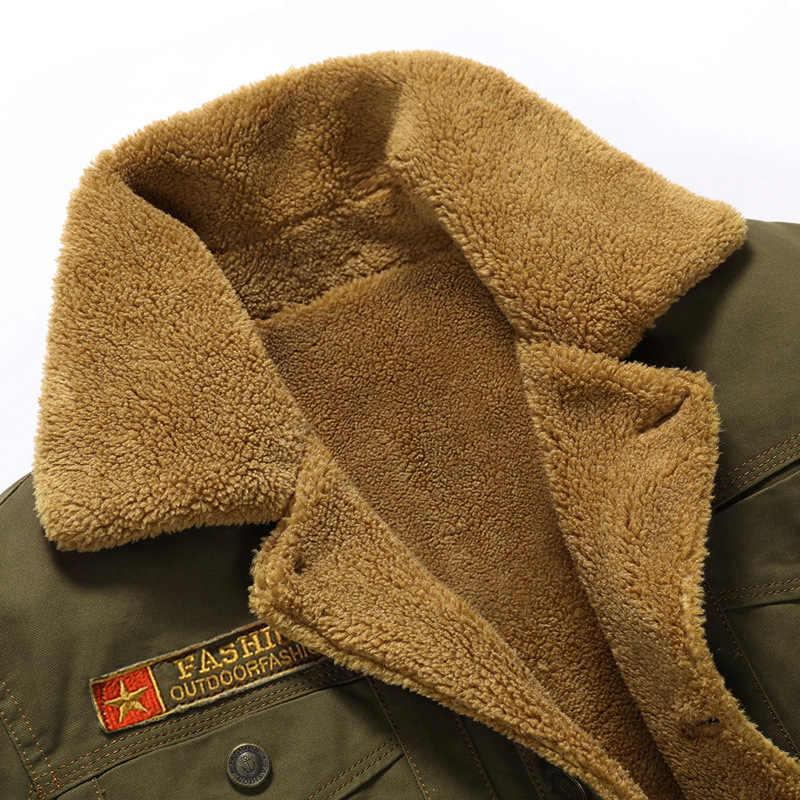 2019 chaqueta de bombardero de invierno para hombre, chaqueta de piloto de Fuerza Aérea, chaqueta de abrigo para hombre, Cuello de piel para hombre, chaqueta de lana táctica para hombres envío