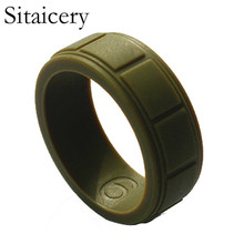 Sitaicery Food Grade FDA Silicone Rings For Men Wedding Rubber Bands Hypoallergenic Flexible Sports Antibacterial Ring
