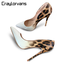 Craylorvans Top Quality Leopard Gradual Change Color Women Pumps Pointed Toe Thin High Heels 2018 New Fashion Luxury Women Shoes craylorvans top quality black nude gradient color 12 10 8cm women pumps pointed toe high heels patent leather women party shoes