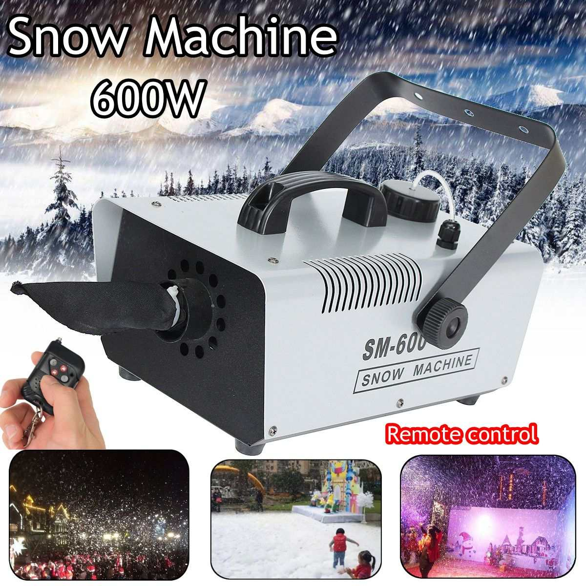 110V/220V Snow 600W Pack Snow Machine Effect with 1.5L Snow Fluid & Wireless Remote miike snow miike snow miike snow
