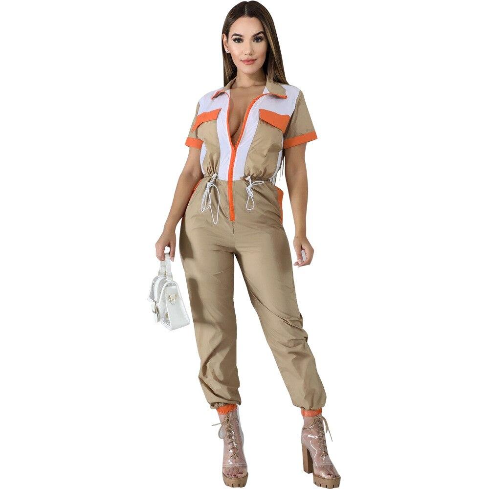 Women Jumpsuit Romper Short Sleeve Turn Down Collar Elegant Zipper Pockets Street Wear Drawrsing Jumpsiut Overalls Long Trousers