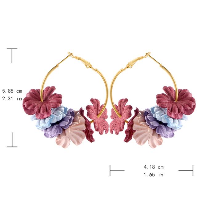 Colorful Petals Hoop Earrings
