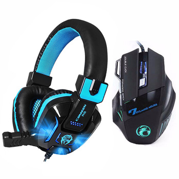7 Buttons 5500 DPI Professional Gaming Mouse+Heavy Bass Games LED Light Gaming Headphone with Earphone Microphones Headset Gift เมาส์