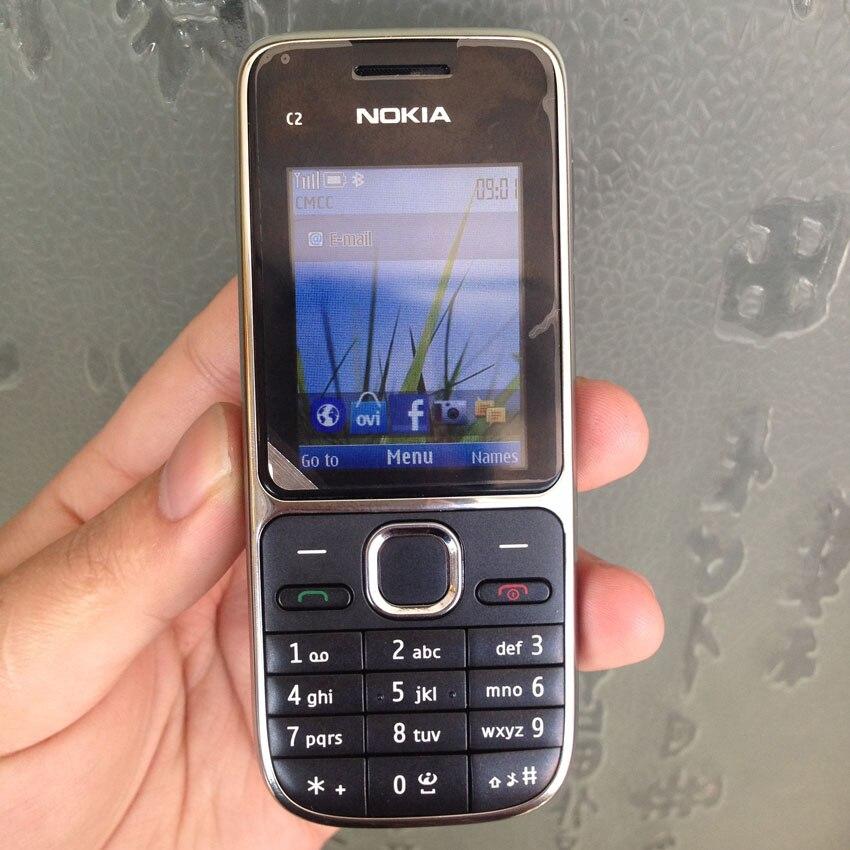 Nokia C2 C2-01 разблокированный мобильный телефон восстановленные мобильные телефоны и Иврит Русский Арабский Клавиатура - Цвет: black English Keybad