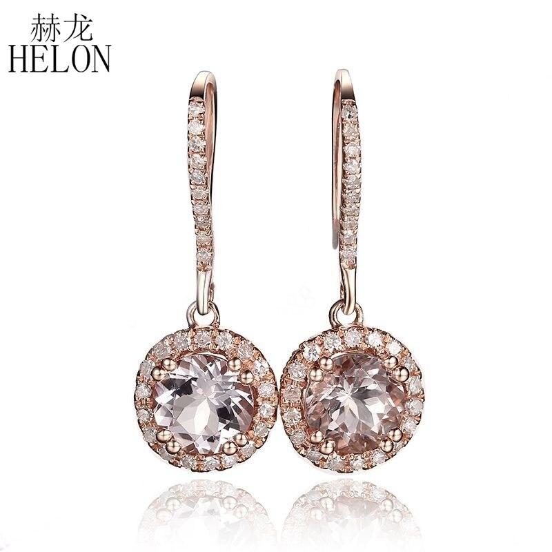 HÉLON Noble Solide 10 K Or Rose Pavent Prong Réglage 6mm Round Cut 1.6ct Morganite & 0.3ct Naturel Diamants Boucles D'oreilles Fine bijoux