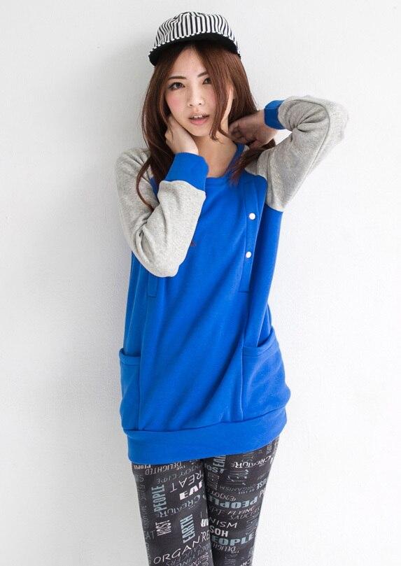 Emotion Moms зимняя одежда с длинными рукавами для беременных Топ для кормления грудью топы свитер для вскармливания толстовки для беременных женщин - Цвет: Синий