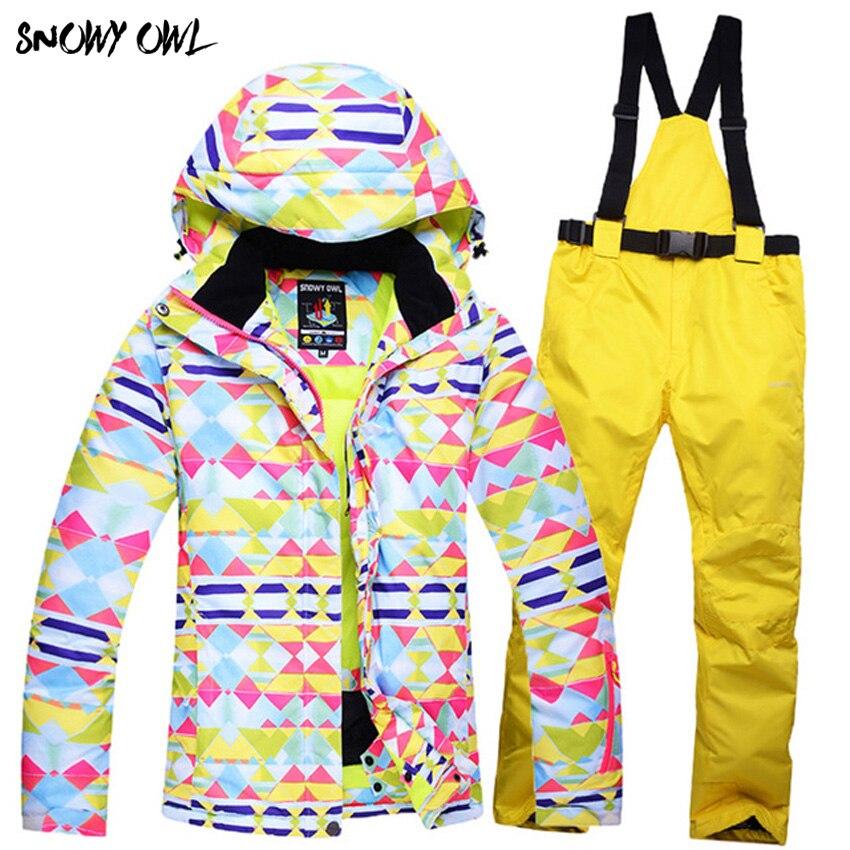new Skiwear suit female models thick winter ski pants veneer double plate warm waterproof ski suit women suite h300 kayak suit