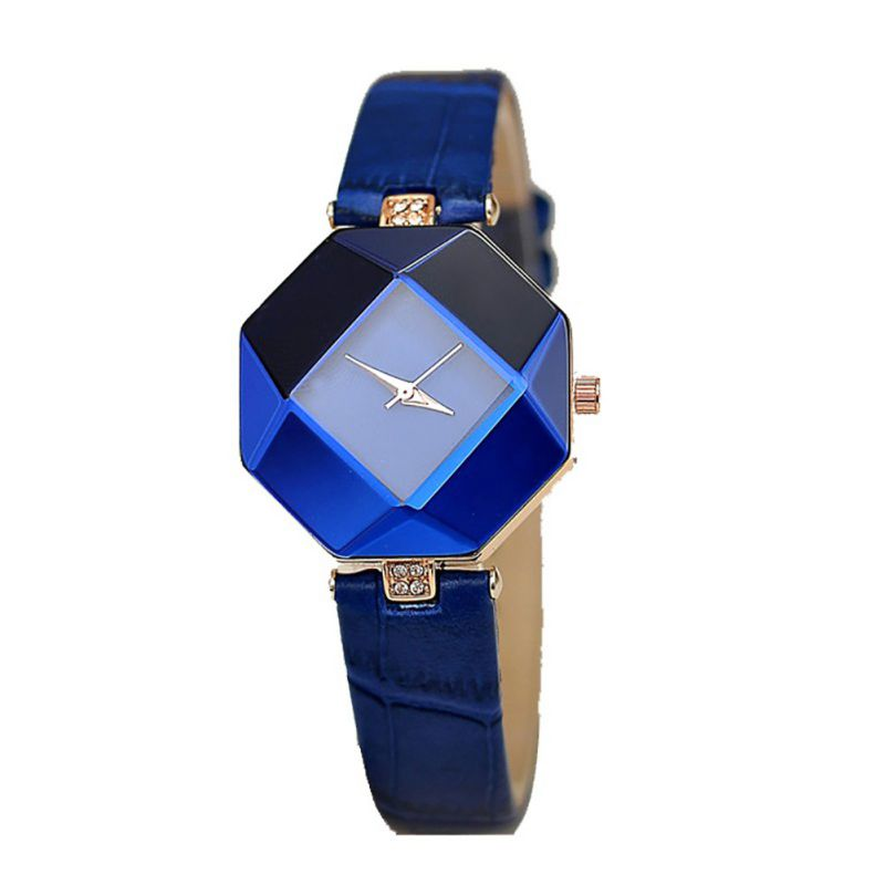 5 Color Jewelry Watch Gift Table Women Watches Jewel Gem Cut Black Surface Geometry Wristwatch