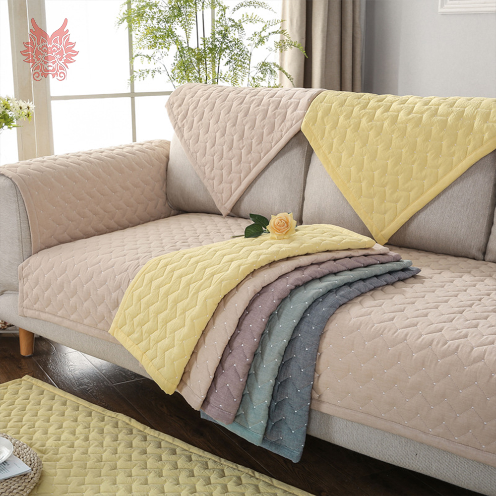 Summer spring wave quilted sofa slipcovers cotton sectional sofa ...