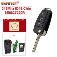 Okeytech  chave de substituição para audi a4 2004 2005 2006 2007 mhz id48chip  com 3 botões e sem cortes lâmina de lâmina