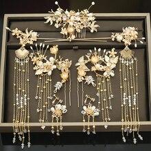 Nowy kostium Hanfu stroik ślubny chiński zestaw akcesoriów do włosów biżuteria ślubna pokaż Wo akcesoria odzieżowe