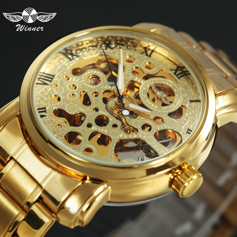 Luxury WINNER Lover's Wrist Watches Full Stainless Steel Men Women Skeleton Mechanical Watches Fashion Automatic Clock +GIFT BOX