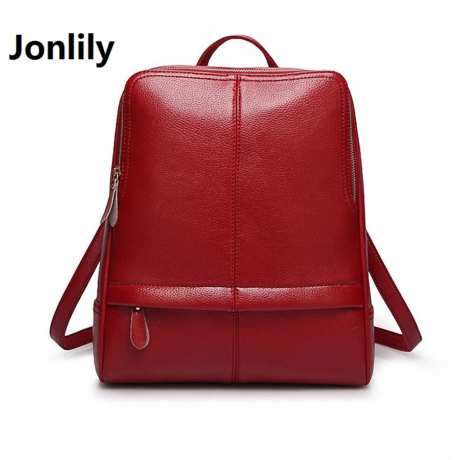 Jonlily Women s Split Leather Material Backpack College style Fashion Leisure All match Simple Travel Youthful