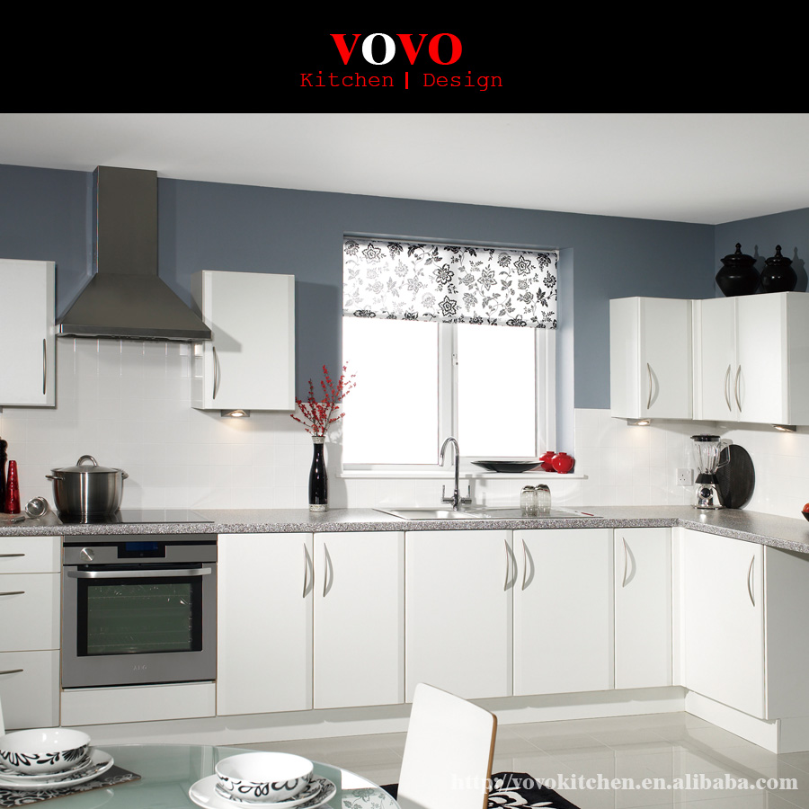 Cute White Lacquer Finished Modern Kitchen Cabinet