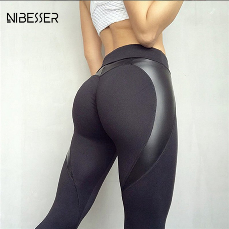 Nibesser Skinny Lengthy Pants Exercise Girls Leggings 2018 New Arrive Girls Push Up Black Coronary heart Form Leggings Pu Leather-based Patchwork