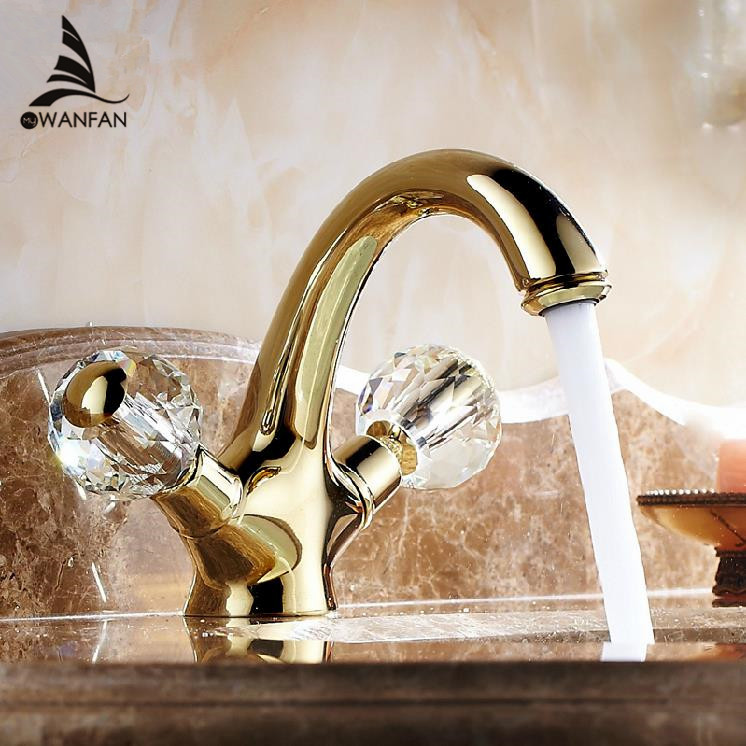 Basin Faucet Brass Gold Bathroom Sink Faucet Crystal Ball Double Handle Bathbasin Wash Cold Hot Mixer Water Tap WC Cock AL-9202K beelee bl8121 cold hot water copper basin faucet for bathroom single handle sink wash basin tap water tap free shipping