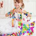 Contas menina Crianças Multicolor Frisado Colar Pulseira Da Menina de Flor Pingente de Colar Jóias Pulseira Kit De Construção Educacional