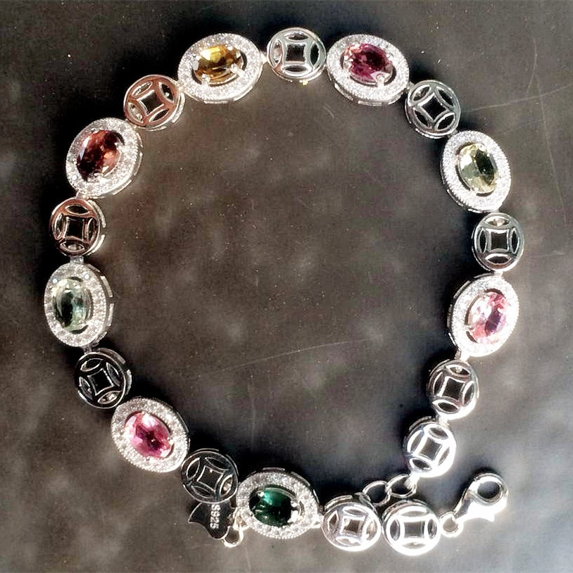 Natural Tourmaline 925 Sterling Silver beautiful chain link bracelet birthday gift Birthstone crystal Fine jewelryNatural Tourmaline 925 Sterling Silver beautiful chain link bracelet birthday gift Birthstone crystal Fine jewelry